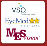 we accept VSP, EyeMed, and Medical Eye Services Vision insurance