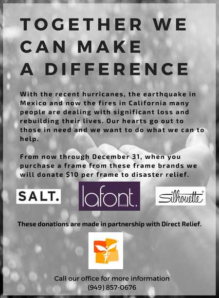 disaster relief donations with eyewear