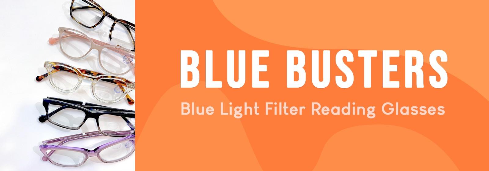 Blue light filter reading glasses