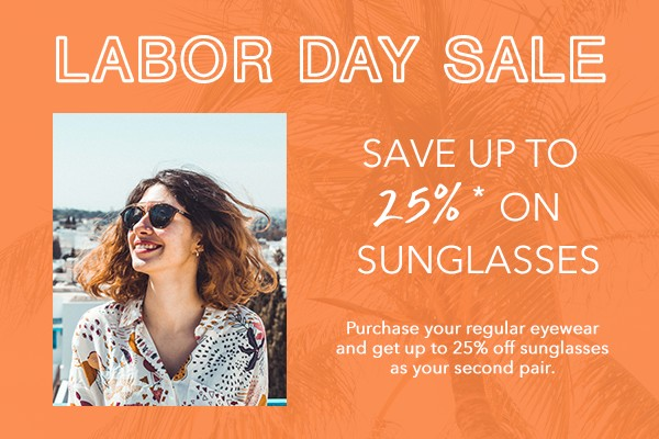 save 25% on sunglasses for Labor Day